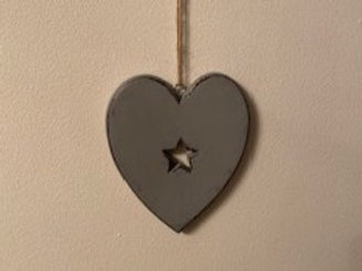Grey heart with star cut out 12cm