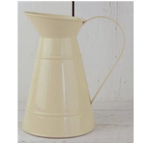 Cream ridged zinc jug