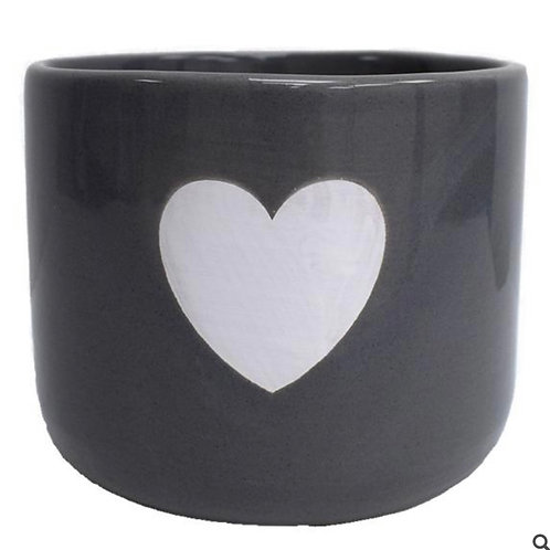 Grey ceramic pot with white heart 13cm