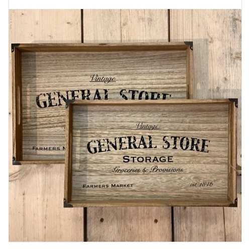 Set of two 'General Store' trays