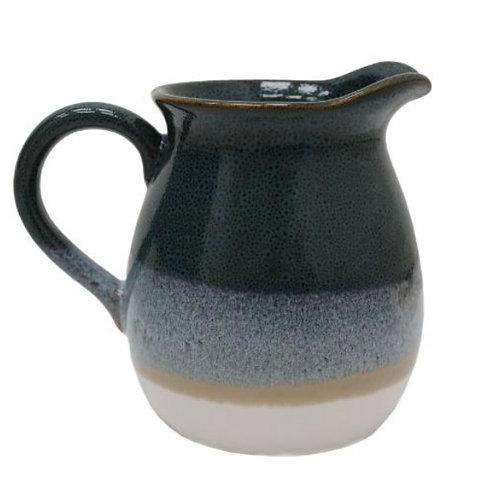 Glazed block colour ceramic jug 18cm