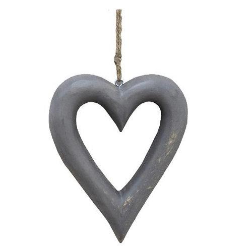 Hanging grey chubby heart 22cm