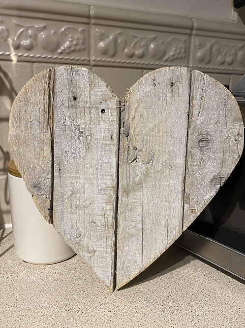Washed wooden heart