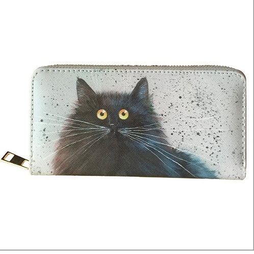 Large cat zip around purse