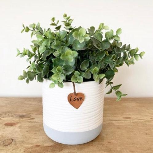 White and grey planter 12cm