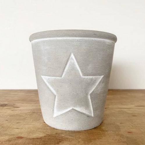 Cement pot white star outline