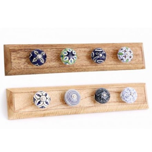 Blue, white & green knob hooks 38cm