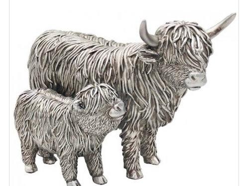 Silver highland cow & calf 19cm