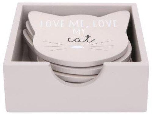 Cat Face 11.5 cm Coasters Set of 6