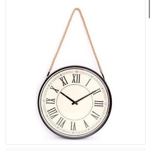 Rope hanging vintage cream wall clock 44cm