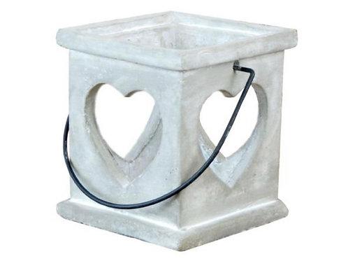 Concrete square lantern with heart cut out 16cm