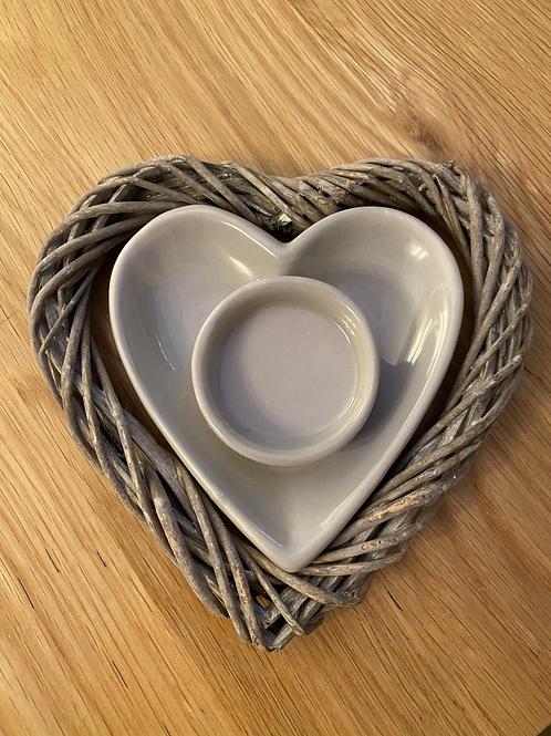 Grey heart tea light holder