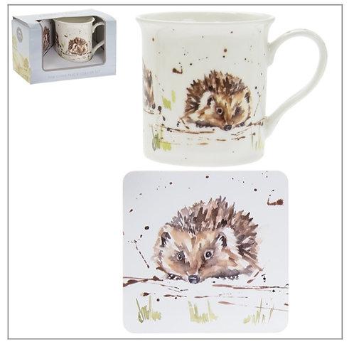 Country hedgehog mug & coaster set