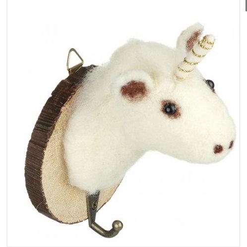 White Unicorn Hook 9cm