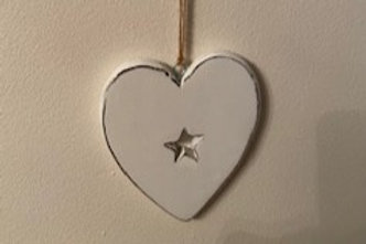 White heart with star cut out 12cm