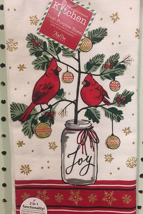 Christmas Cardinal Dual Purpose Towel