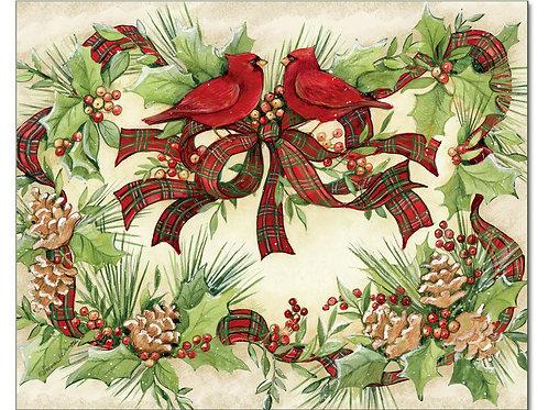 Cardinal Wreath Cutting Board