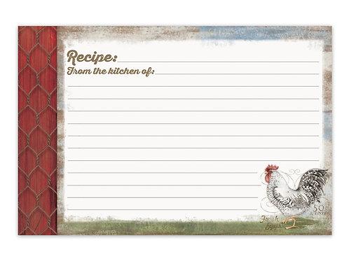 Barnyard Rooster Recipe Cards