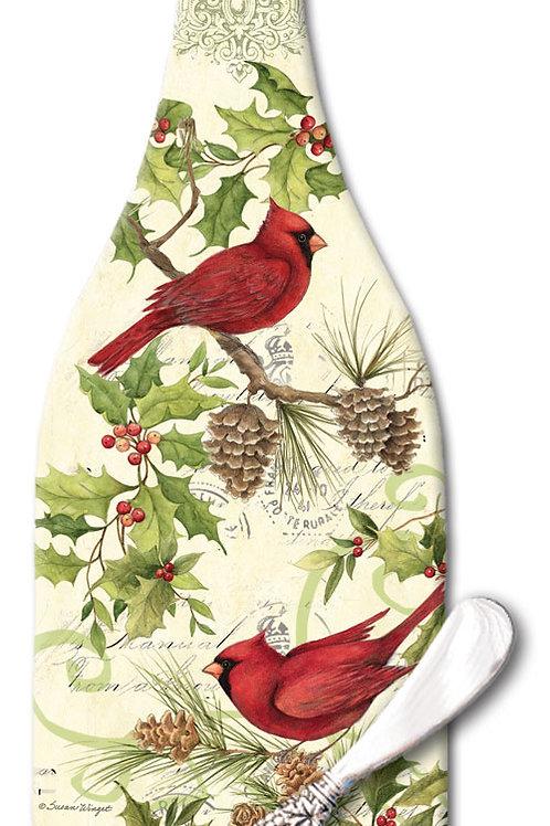 Cardinal Wreath Wine Bottle Cheese Board