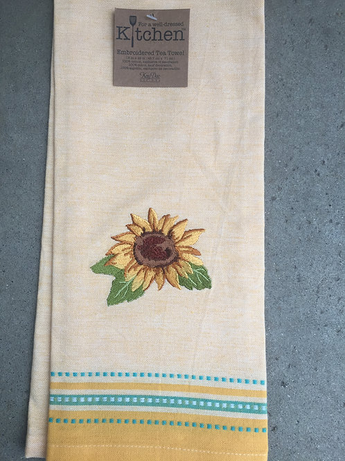 Sunflower Fields Gold Tea Towel