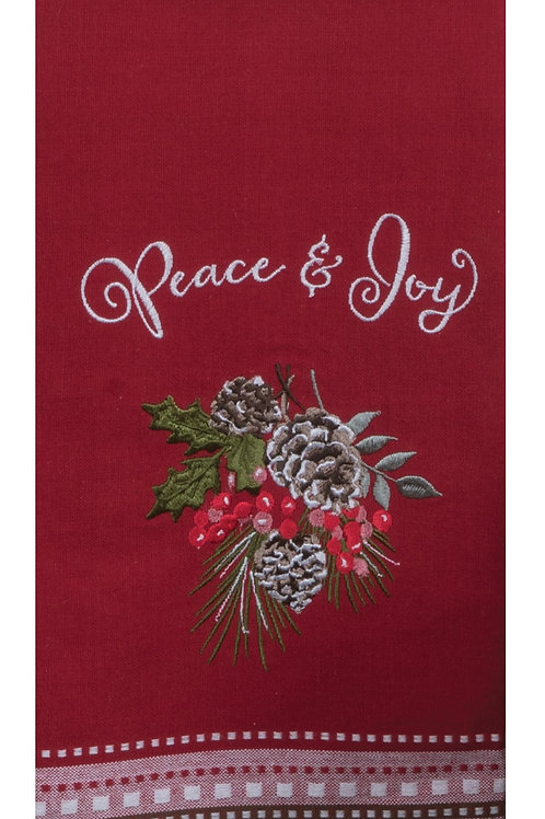 Peace & Joy Embroidered Tea Towel