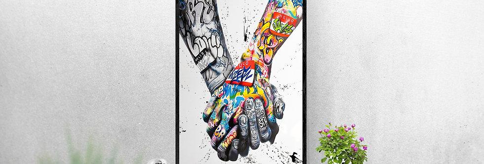 Main dans la main street art
