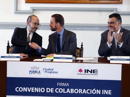 INE PUEBLA Y AYUNTAMIENTO DE PUEBLA SUSCRIBEN CONVENIO DE COLABORACIÓN
