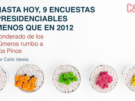HASTA HOY,  9 ENCUESTAS PRESIDENCIABLES MENOS QUE EN 2012 Ponderado de los números rumbo a Los Pinos