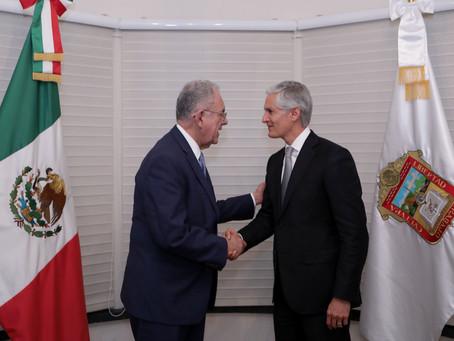 SOSTIENEN REUNIÓN ALFREDO DEL MAZO Y JAVIER JIMÉNEZ ESPRIÚ PARA IMPULSAR EL AEROPUERTO INTERNACIONAL