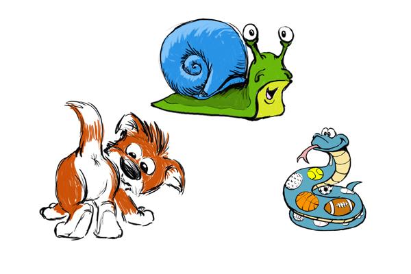 snakes snail puppy dog tail