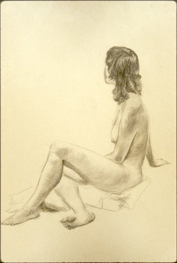seated brunette nude