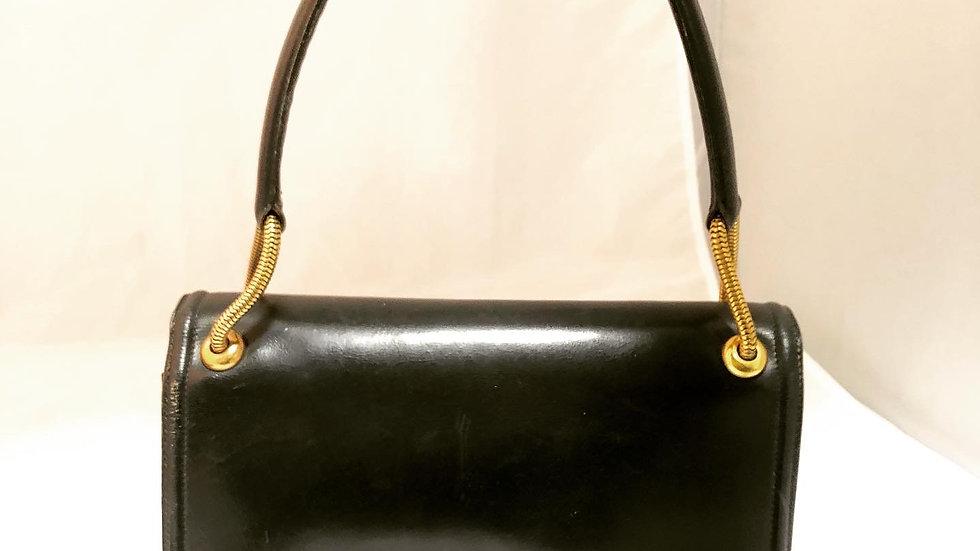 Hermes Vintage Black Piano leather Bag