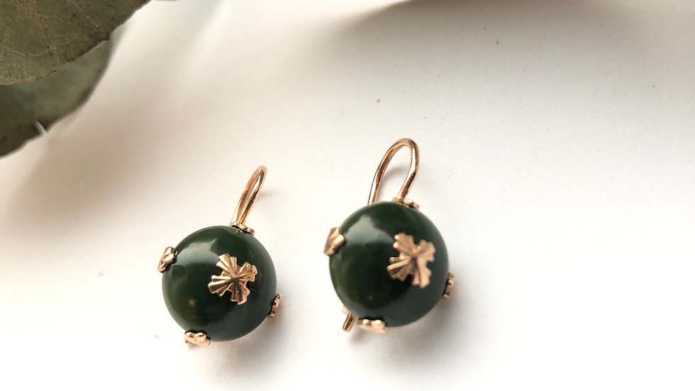 Vintage Soviet Earrings with nephrite Gold 583