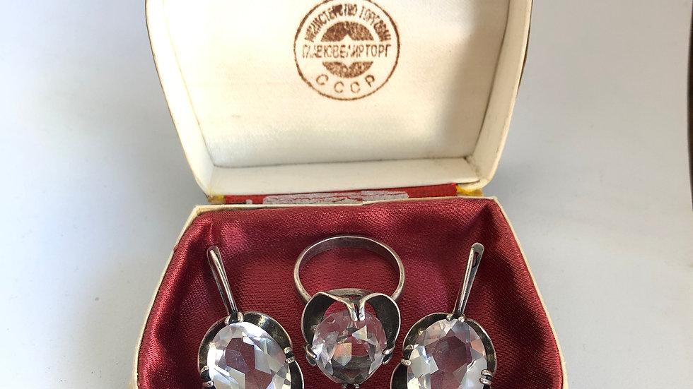 Soviet Jewelry rock crystal set with box
