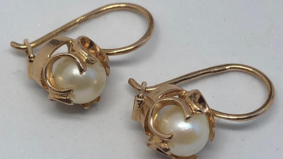Vintage Original Soviet gold 583 earrings with Pearls