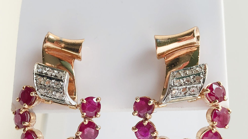 Ruby and Diamond Gold 18K Earrings Italy