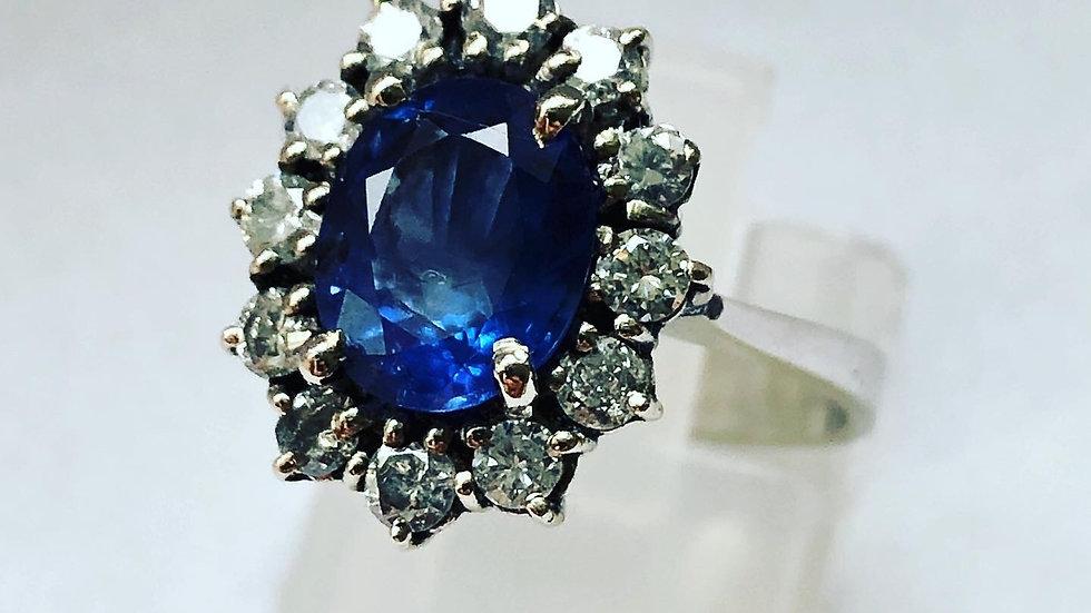 Victorian Blue sapphire Diamonds Gold ring 18K