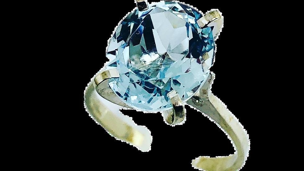 Aquamarine white Gold 18K Ring Gemology Certificate