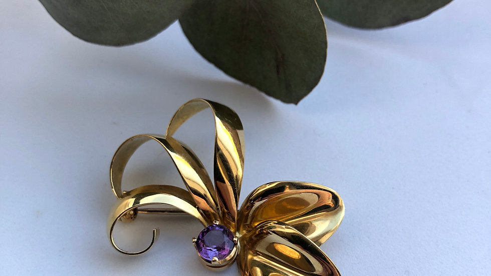 Brooch with Amethyst Gold 18K Italy