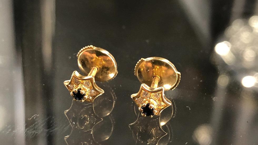 Blue Sapphire and Diamonds earrings Gold 18K