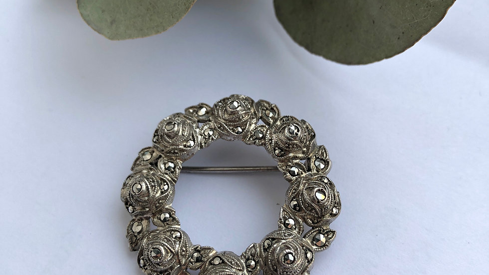 Brooche Roses Marcasite Silver