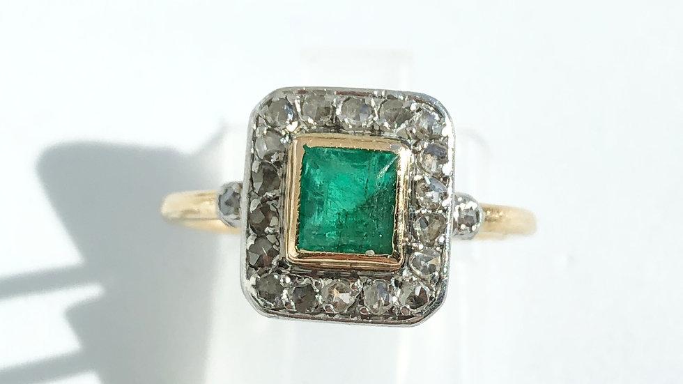 Art Deco Emerald Diamonds Gold Ring