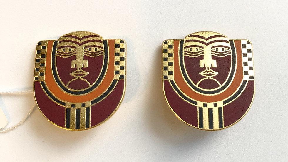 Signed Laurel Burch Maori Clip On Earrings