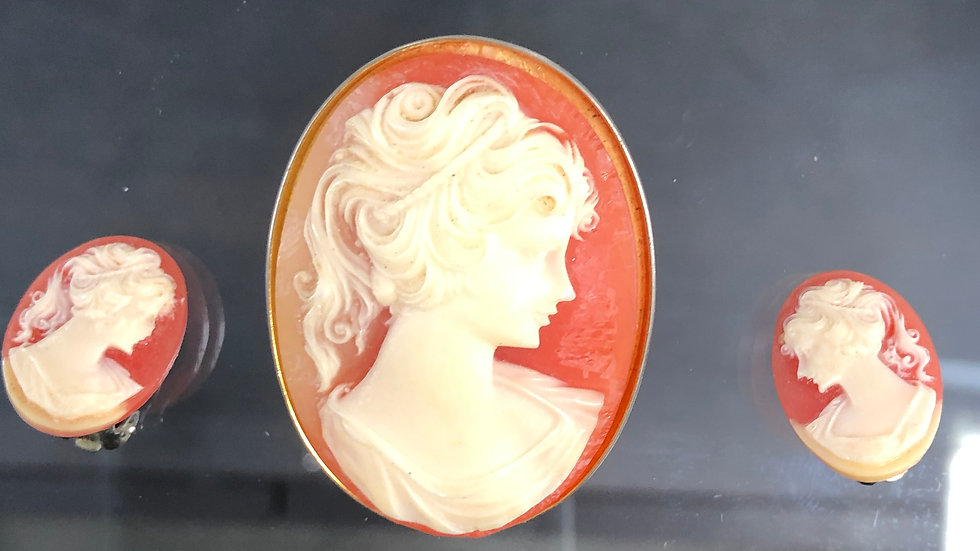 Antique shell Cameo Brooch and Clips