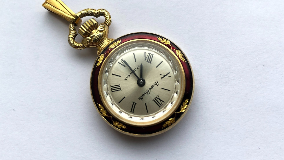 Vintage Andre Rivalle 17 Jewell  Wind Red Enamel pocket watch