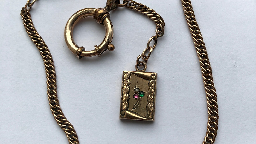 Victorian gold plated watch chain c1890