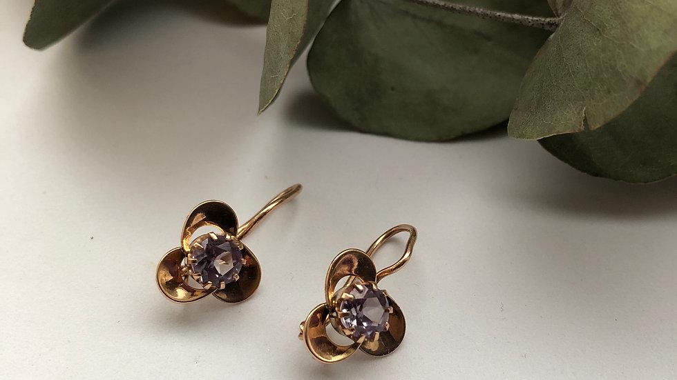 Earrings synthetic alexandrite Shamrock gold 583