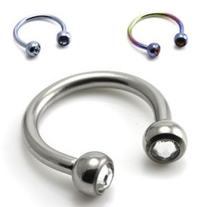 Ti Circular Barbell with Gems 1.6mm