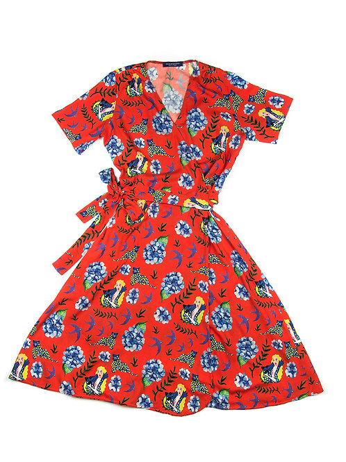 ROBE CACHE COEUR PANTHERE BLEUE