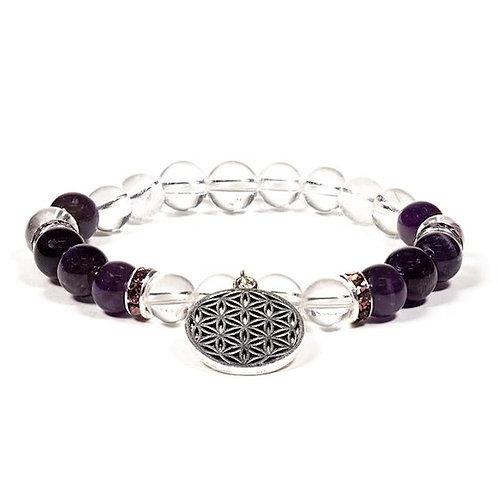 Bracelet améthyste et cristal de roche
